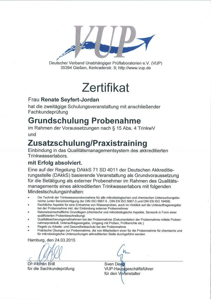 Zertifikat für Grundschulung Trinkwasserprobenahme & Zusatzschulung ...